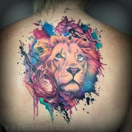 Tattoos - Watercolor and Realism integrated Lion and Rose back piece - 140539