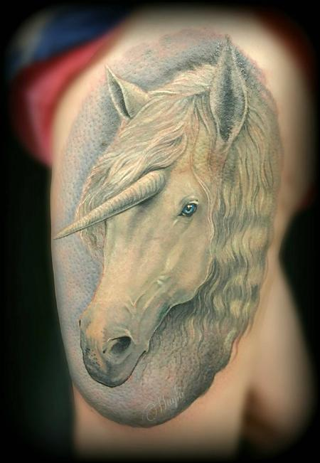 Tattoos - Unicorn thigh tattoo - 141109