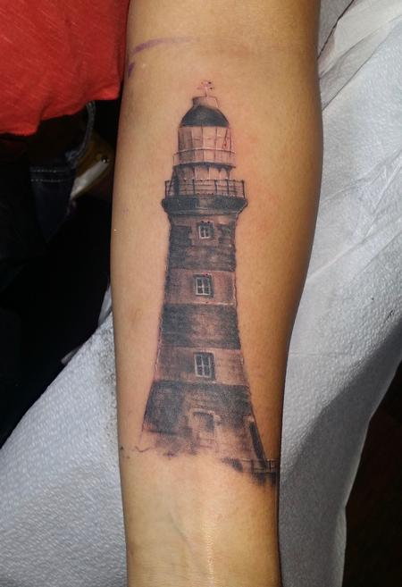 Tattoos - Lighthouse realistic black and gray - 141074