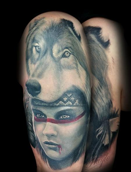 Tattoos - Custom Realistic Native American woman with wolf headress - 119743