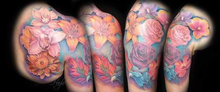 Tattoos - Beautiful floral arrangement shoulder & 1/2 sleeve tattoo  - 141110