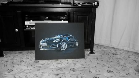 Haylo - Nissan 370 Z on black illustration board in Oil Pastels completed