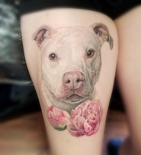 Tattoos - Pitbull Portrait tattoo by Haylo - 141595