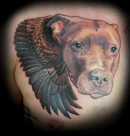 Tattoos - Pit bull portrait with wings memorial  - 141103