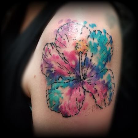 Tattoos - Watercolor Hibiscus shoulder tattoo by Haylo - 141587