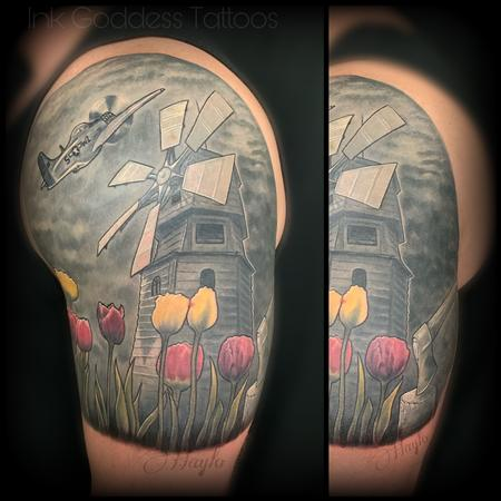 Tattoos - Windmill, plane and tulip cover up tattoo by Haylo  - 141173