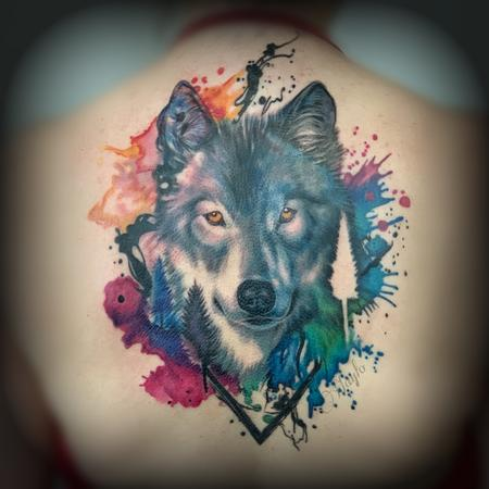 Tattoos - Watercolor & realism integration Wolf back piece  - 138849
