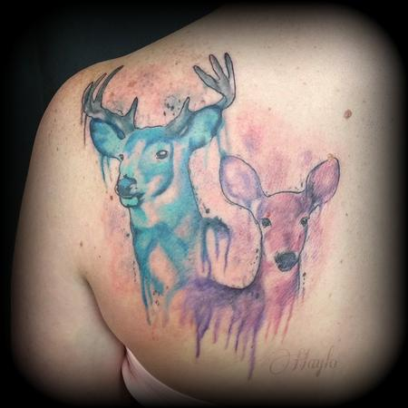 Tattoos - Deer / Stag Watercolor Tattoo - 141076