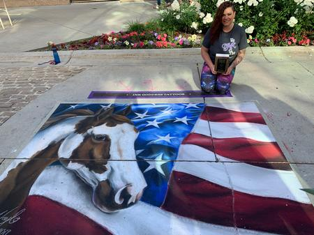 Haylo - American Paint Horse with American Flag Chalk Art