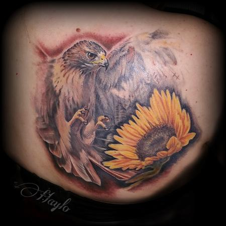 Tattoos - Red Tail Hawk and Sunflower by Haylo - 141355