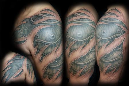 Tattoos - 3D skin rips & armor tattoo by Haylo  - 141162