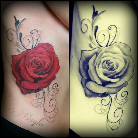 Tattoos - Realistic style rose with black and gray swirls - 104405