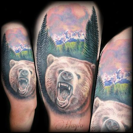 Tattoos - Grizzly Bear and Tetons Mountain range piece complete - 104956