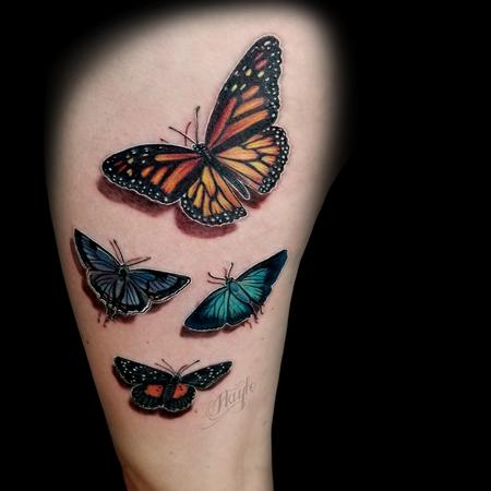 Tattoos - Custom Colored Butterfly collaborative thigh piece - 131841