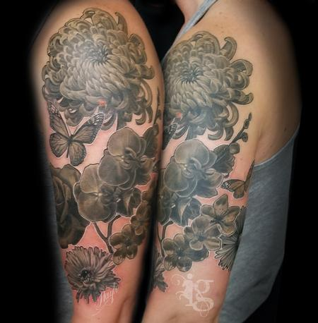 Tattoos - Floral black and gray half sleeve tattoo by Haylo - 141614