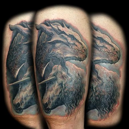 Tattoos - Realistic, full color dragon with unicorn thigh piece - 133175