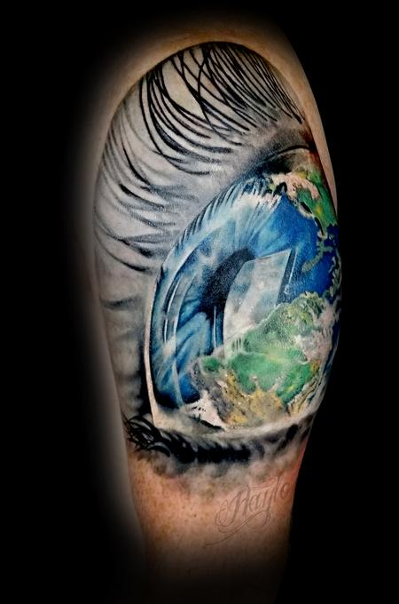 Tattoos - Custom Earth in Eyeball half sleeve - 131822