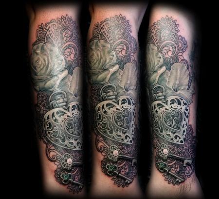 Tattoos - Realistic locket, rose, gladiolus, keys, and lace half sleeve - 131825