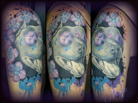 Tattoos - Pit bull Sugar skull piece with floral accents - 110006