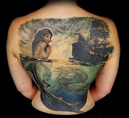Haylo - Siren and ghost ship cover up piece