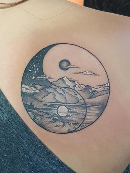 Yin Yang Mountain Tattoo Tattoo Design