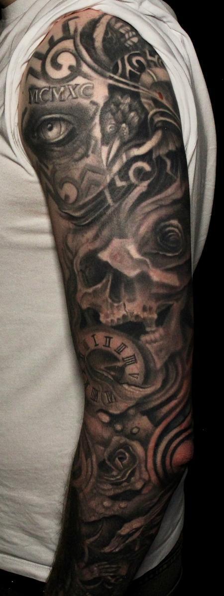 Viking raven and Eye, Black and grey Tattoo Tattoo Design Thumbnail
