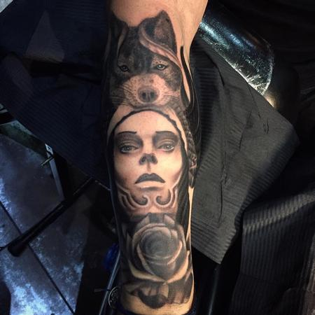 Tattoos - Wolf Portrait and Rose Tattoo - 139820