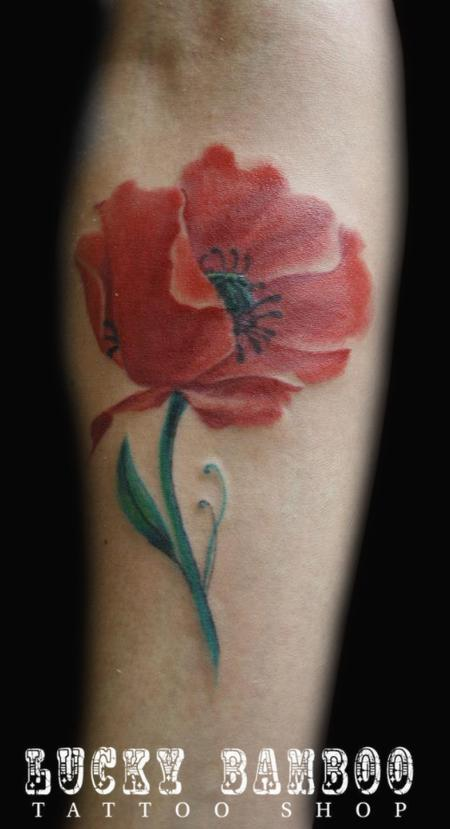 Tattoos - Poppy Flower Tattoo - 74253