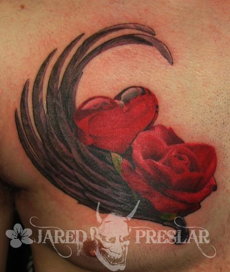 Tattoos - Glass Heart and Rose Flower Tattoo - 76112