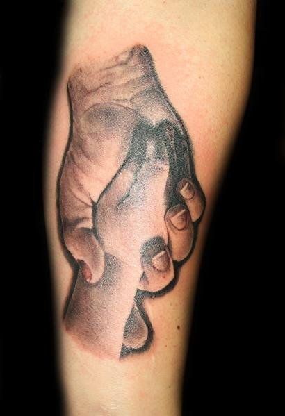 Tattoos - Black and Gray Hands Tattoo - 59397