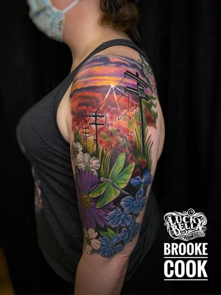 Meadow Scene Memorial Half Sleeve by Brooke Cook at Lucky Bella in North Little Rock  Tattoo Design