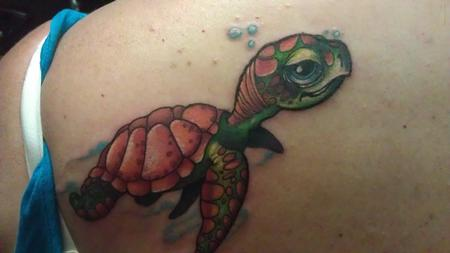 a colorful little turtle tattoo Tattoo Design