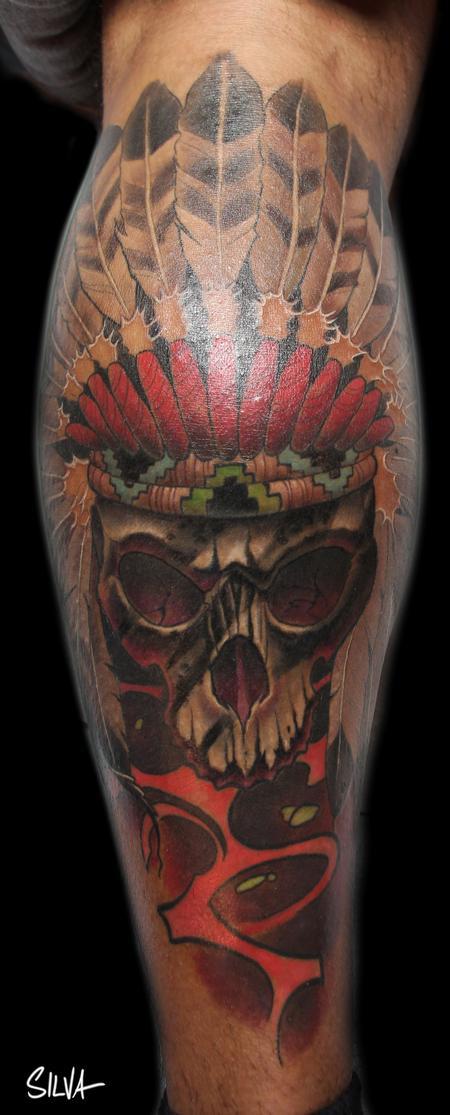 Tattoos - Custom Native American Indian Chief Tattoo - 115750