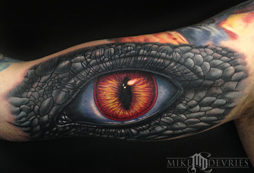 Mike DeVries - Reptilian Human Eye Tattoo
