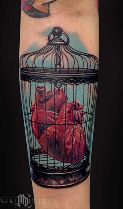 Tattoos - Human Heart In a Bird Cage - 89678