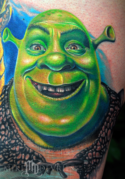 Mike DeVries - Shrek Tattoo