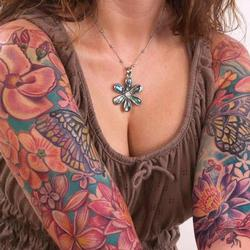 Tattoos - Monica tropical flowers bodyset - 73234