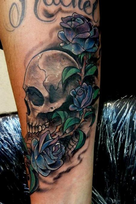 Tattoos - Skull & roses coverup - 64101