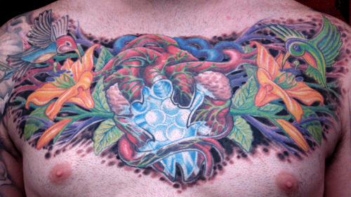 Tattoos - Anthony Dubois and Phil Robertson collaboration chest tattoo. - 28091