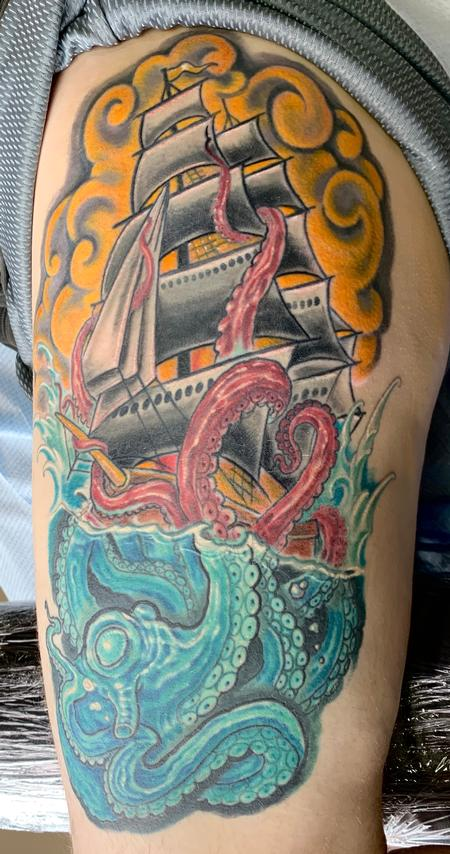 Octopus and ship tattoo Tattoo Design