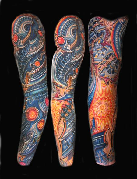 Tattoos - bio mechanical full sleeve tattoo - 56229