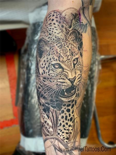 Tattoos - Black and Grey Leopard Portrait Tattoo  - 142152