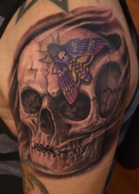 Rafael Marte - Black and grey weathered skull with purple moth tattoo