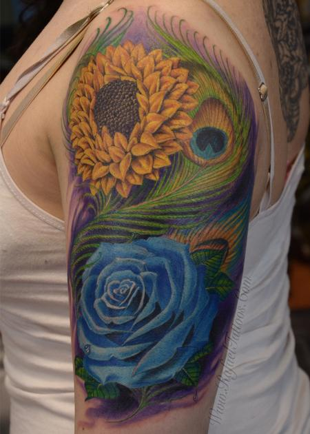 Rafael Marte - Full colored blue rose and sunflower with peacock feathers arm tattoo