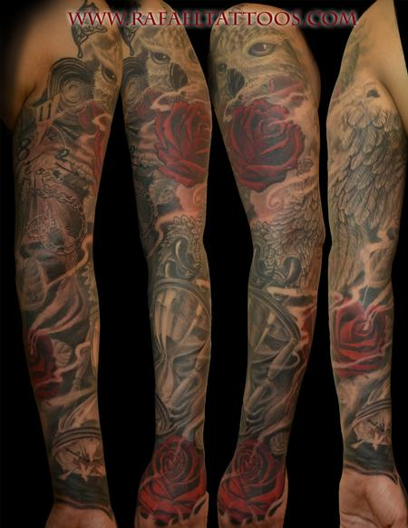 Tattoos - Black and grey Owl with roses and timepieces sleeve - 101176