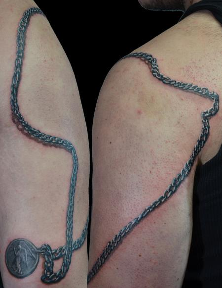 Tattoos - realistic chain with coin medalion  - 104024