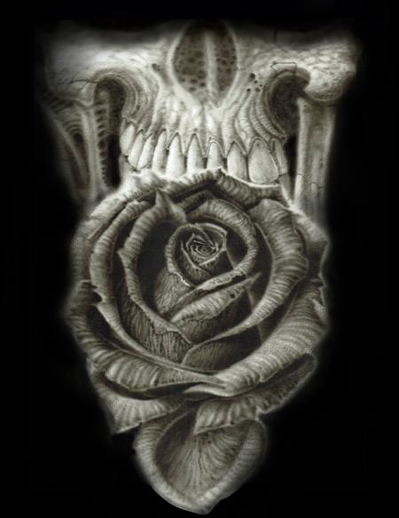 Tattoos - Rose and Skull airbrush art. Acrylic on watercolor paper.  - 137380