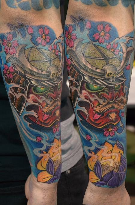 Tattoos - Red Samurai Mask with Waves and Flowers - 100618
