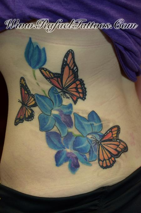 Tattoos - Blue Orchids and Monarch Butterflies - 109729