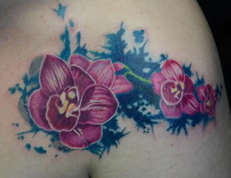 Tattoos - orchids with turquoise splash  - 103728